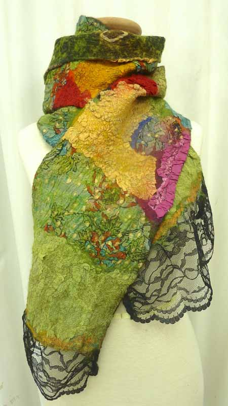multi color sparkle green scarf