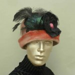 apricot with feather and flowers hat