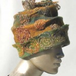 green and gold felted hat - version 3