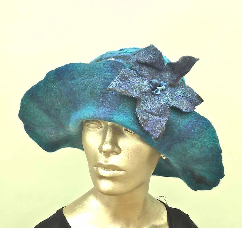 large brim opera wet felted hat