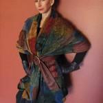 maroon squares shawl