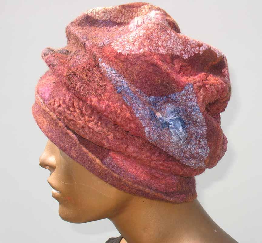 red mushroom nuno felted hat