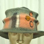 wide brim green peach wet felted hat
