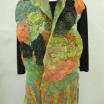 collaged green black sparkle with ends scarf