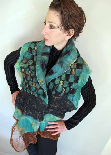 wet felted woven scarf