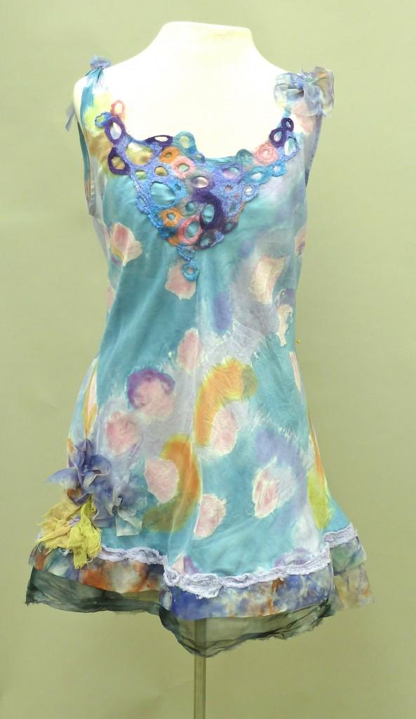 All Silk Dress with Felt Neckline