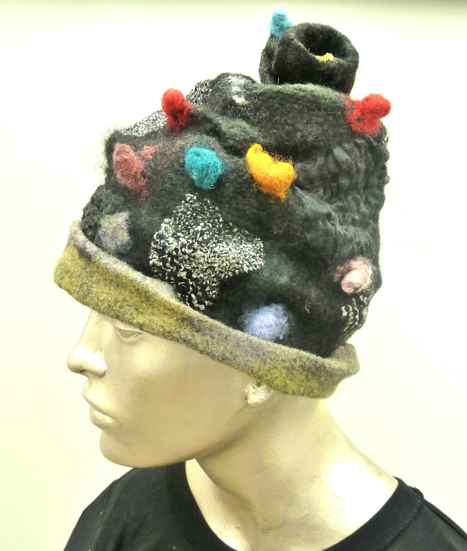 Black Felt Scrunched Hat with Pom Poms