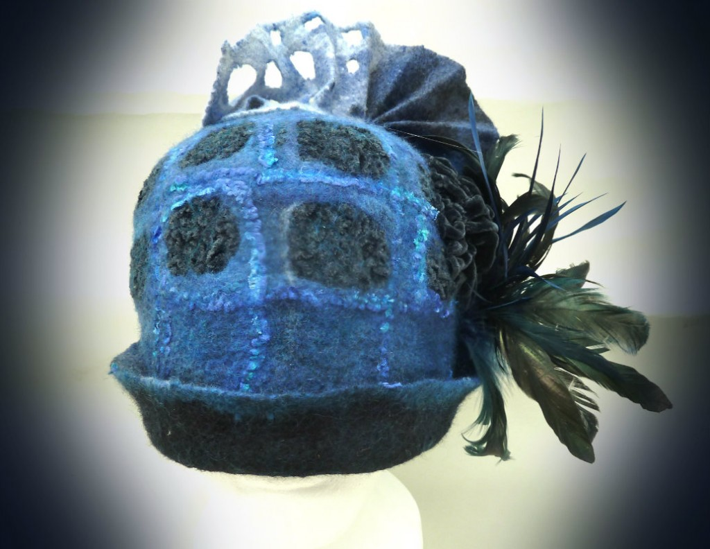 Blue Nuno Felt Hat with Feathers and velvet squares