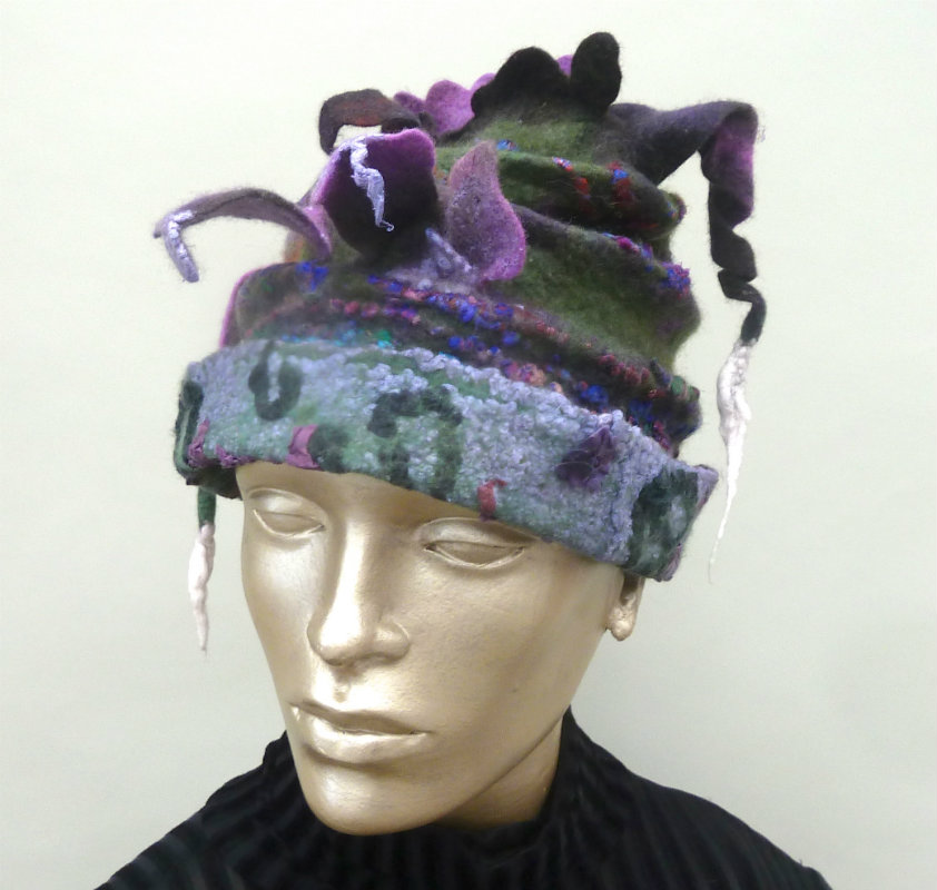 Funky Green and Purple Felted Hat with sculptural effects and felted do dads