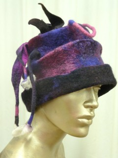 Funky Purple and Black Felt Hat with Spikes and tassels and flaps