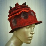 Funky Red and Black Felt Hat with Ruffled silk , felted circles, and points, small brim