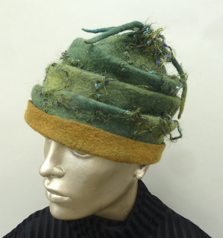 Green and Gold Scrunched Felted Scrunch Hat with Yarn Tassles