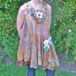 Tan Nuno felt dress with Floral Embellishments and hand painted silks double layer silk construction