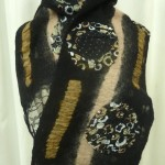 Black /Tan Circles Scarf in wool and silk felted