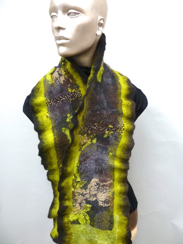 Felted ruffle scarf in browns and pea green floral motif