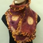 Cranberry/Rust Ruffled Scarf silk and wool felt