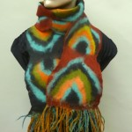 Fringed Felted scarf in rust/turquoise/black