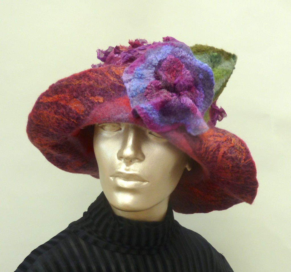Large Brim Cranberry Felted hat with Flower