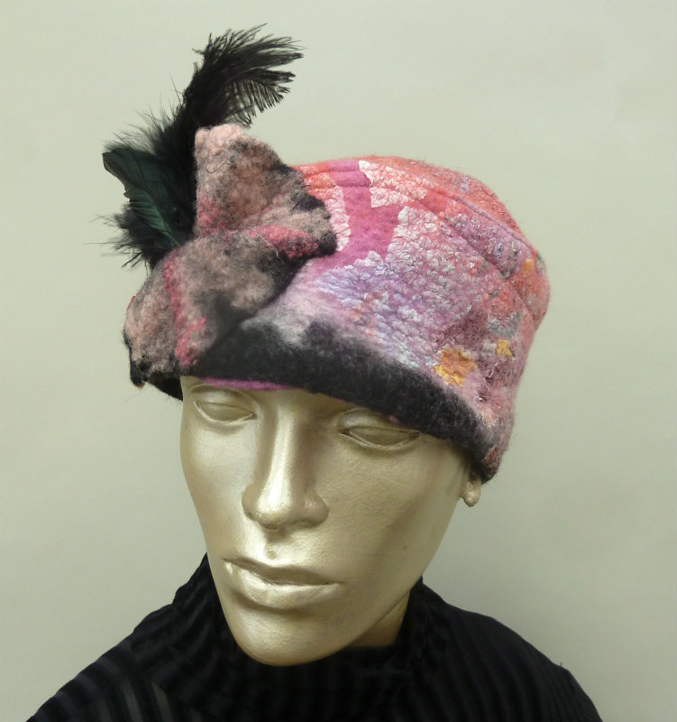 Pink Marbled Nuno Felted Hat with Feathers and Felt Flowers