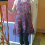 Red And Plum Nuno Felted Dress in a Hand painted Abstract Floral Motif