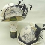 Black and White Felted Hats with Feathers and Veil