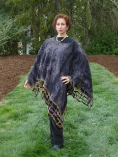 Black and Tan Nuno Felted Poncho seamless reversible light weight nuno felted poncho with grid felt lattice