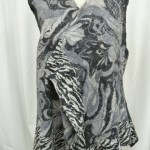 Black and White Nuno felted Print Vest waist length seamless reversible