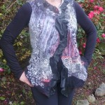 wet felted nuno vest print silks and leather embellished