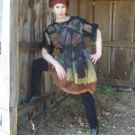 Black nuno felted dress embellished with multicolor silk shapes hand dyed silks and merino wools