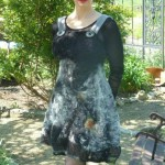 black and white felted dress, felted dress, nuno felt dress