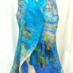Nuno Felted Vest in Tropical Blues and Greens, felted vest, hand dyed silks hand dyed merino wools
