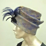Blue and Gold Wet Felted Hat withFeather