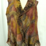 Brown Gold and Rust Nuno Felted Vest embellished with yarns