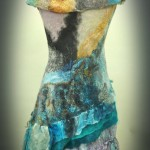 Off the Shoulder Nuno felt Dress full length in blue gray gold and black , wool locks hand painted silks