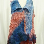 Denim Nuno Felted Vest blue and red silk