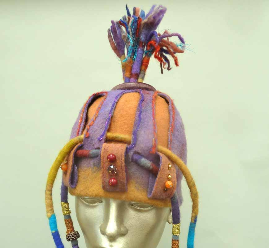 Fancy Felted Hat double layer construction,with Spikes and beads