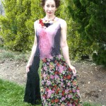 Full length Nuno Felted Floral Dress collaged nuno felted silks hand painted and printed silk