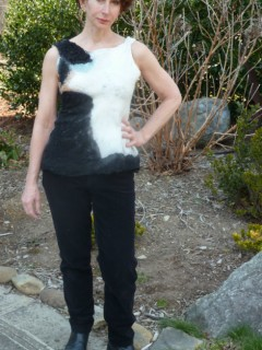 Black and White Nuno Felted Tank Top highly textured merino wool