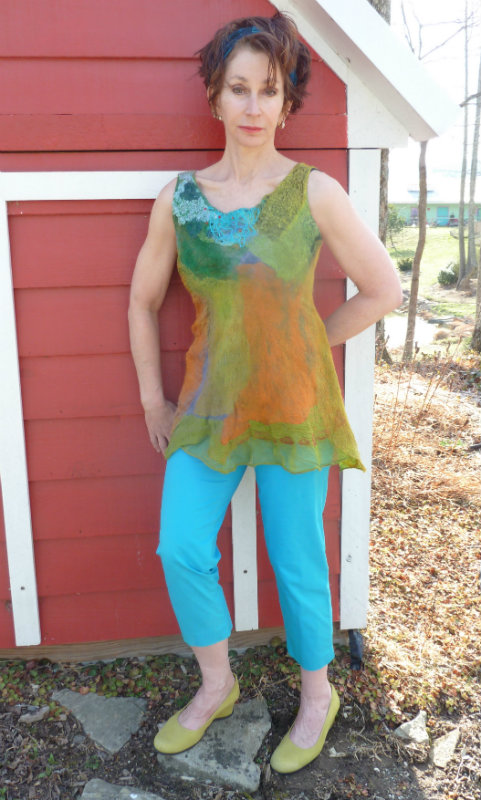 Multicolored Green orange blue Nuno Felted tank Top with beaded neckline flared waist
