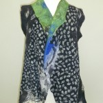 Black and White Nuno Felted Vest hand dyed silks and gauzes