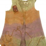 Beige/ Coral /Mauve Nuno Felted Vest