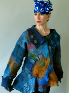 Multicolored Blue and Orange Nuno Felted Jacket