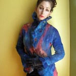 Fitted Blue and orange, pink, waist length Nuno Felted Jacket with fully embellished textures