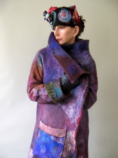 Multicolor Plum and Blues Nuno Felted Full Length Coat seamless and reversible