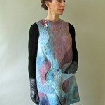 Lilac and Blue Nuno Felted Tunic with hand turned purple heart buttons on back