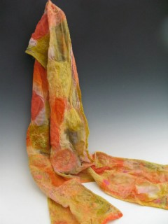 Nuno Felted Orange and Yellow Scarf