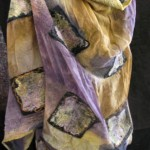 Purple and Tan NUno Felted Shawl with multi squares covered in hand dyed silk fibers