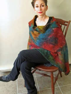 Red and Green Nuno Felted Shawl