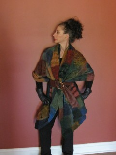 Rust Blue and Gold Nuno Felted Shawl in checkerboard Patter