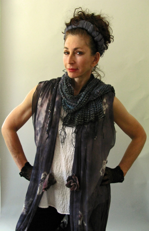 All Silk Gray Full length Tunic Shibori Dyed with nuno felt bottom panel